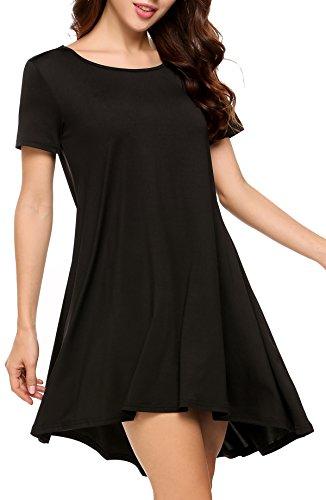 92b375d0 Finejo Women's Summer Short Sleeve Casual Flowy Basic T-Shirt Loose  Nightgrown Tunic Dress Sleep Dress