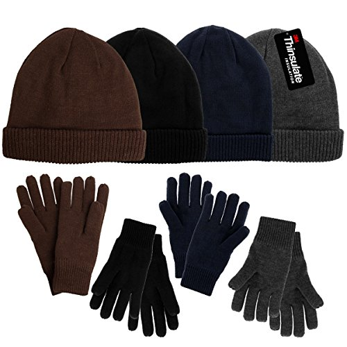 ed78dc944 HindaWi Winter Hats Gloves for Women Knit Warm Snow Ski Outdoor Caps ...