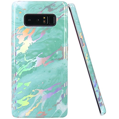 JIAXIUFEN Shiny Change Color Mint Marble Design Clear Bumper TPU Soft Rubber Silicone Cover Phone Case