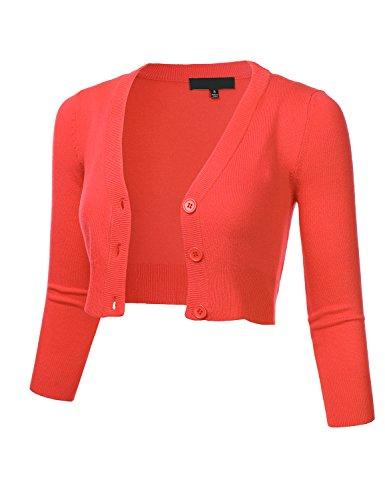 8740601cda FLORIA Women s Solid Button Down 3 4 Sleeve Cropped Bolero Cardigan Sweater  S-4X